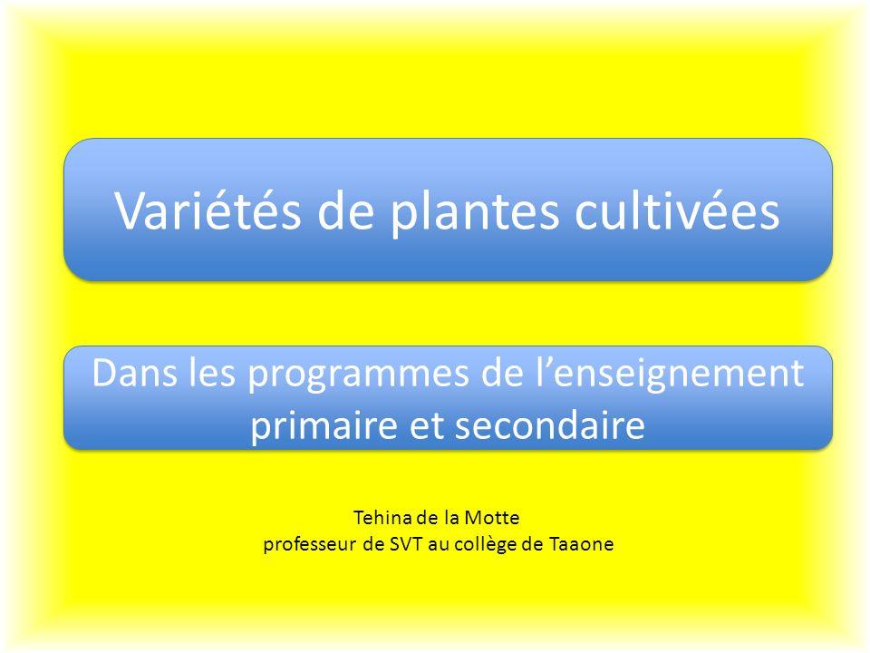 Variétés de plantes cultivées Dans les programmes de lenseignement primaire et secondaire Tehina de la Motte professeur de SVT au collège de Taaone