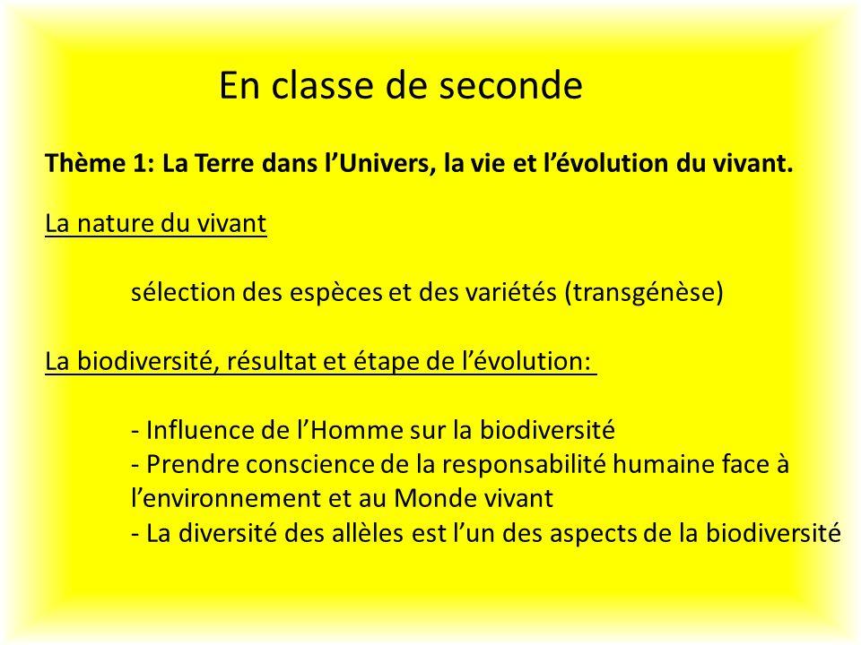En classe de seconde Thème 1: La Terre dans lUnivers, la vie et lévolution du vivant.