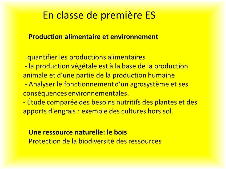 En classe de première ES Production alimentaire et environnement Une ressource naturelle: le bois Protection de la biodiversité des ressources - quantifier les productions alimentaires - la production végétale est à la base de la production animale et dune partie de la production humaine - Analyser le fonctionnement dun agrosystème et ses conséquences environnementales.