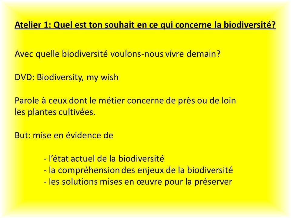 Atelier 1: Quel est ton souhait en ce qui concerne la biodiversité.