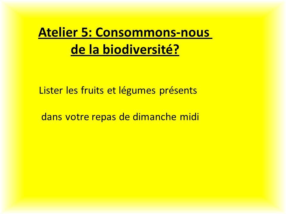 Atelier 5: Consommons-nous de la biodiversité.