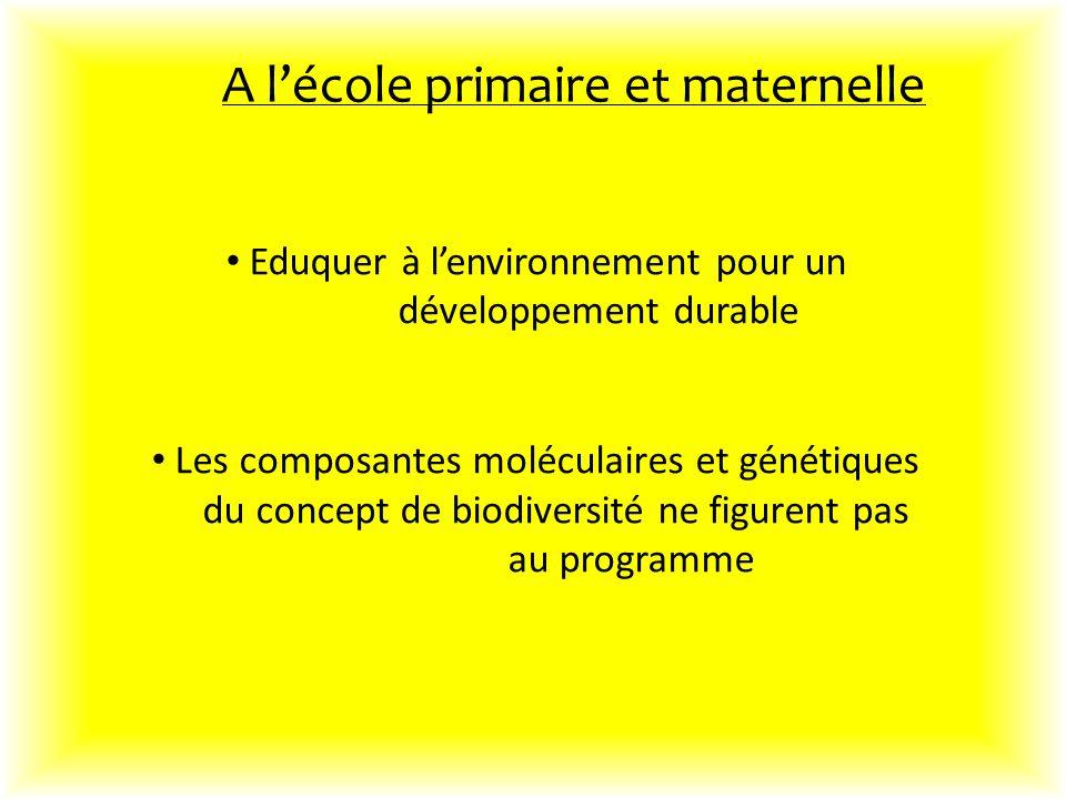 Eduquer à lenvironnement pour un développement durable Les composantes moléculaires et génétiques du concept de biodiversité ne figurent pas au programme A lécole primaire et maternelle