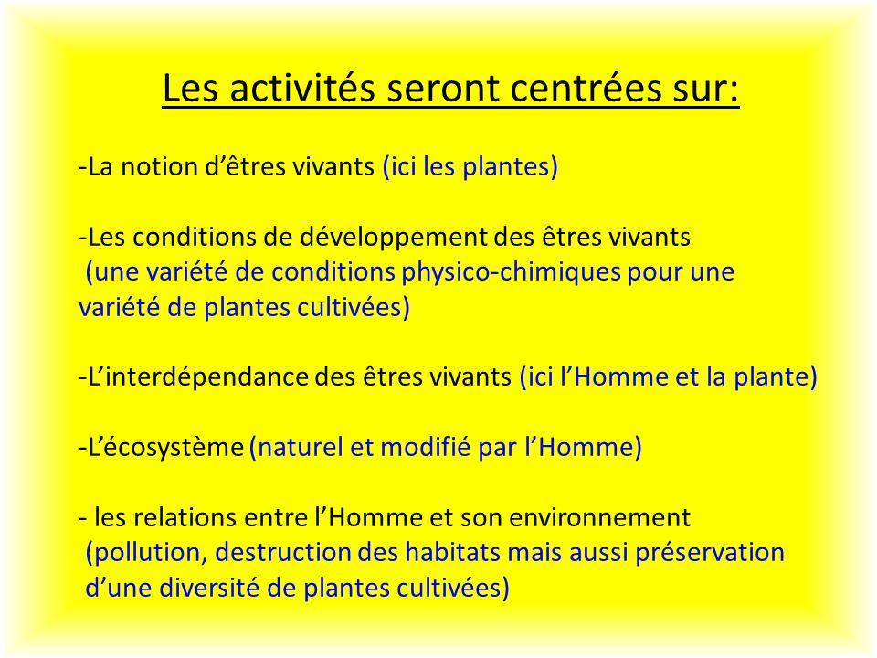 Les activités seront centrées sur: -La notion dêtres vivants (ici les plantes) -Les conditions de développement des êtres vivants (une variété de conditions physico-chimiques pour une variété de plantes cultivées) -Linterdépendance des êtres vivants (ici lHomme et la plante) -Lécosystème (naturel et modifié par lHomme) - les relations entre lHomme et son environnement (pollution, destruction des habitats mais aussi préservation dune diversité de plantes cultivées)