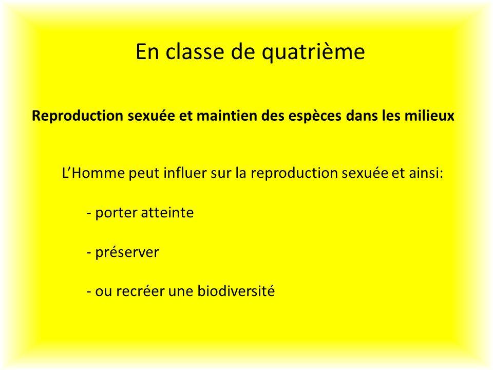 En classe de quatrième Reproduction sexuée et maintien des espèces dans les milieux LHomme peut influer sur la reproduction sexuée et ainsi: - porter atteinte - préserver - ou recréer une biodiversité