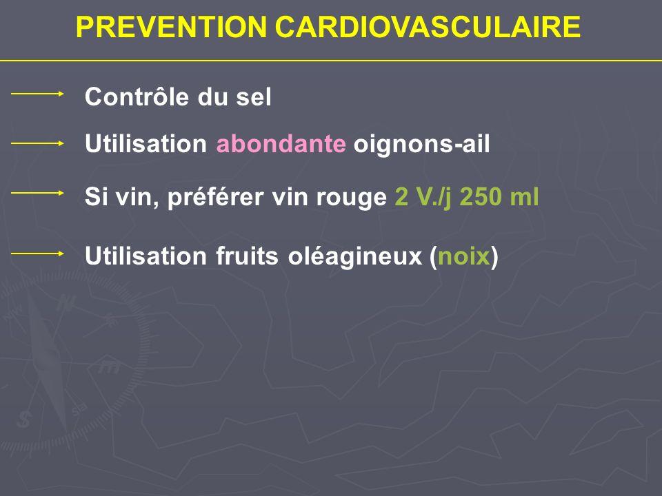 PREVENTION CARDIOVASCULAIRE Contrôle du sel Utilisation abondante oignons-ail Si vin, préférer vin rouge 2 V./j 250 ml Utilisation fruits oléagineux (