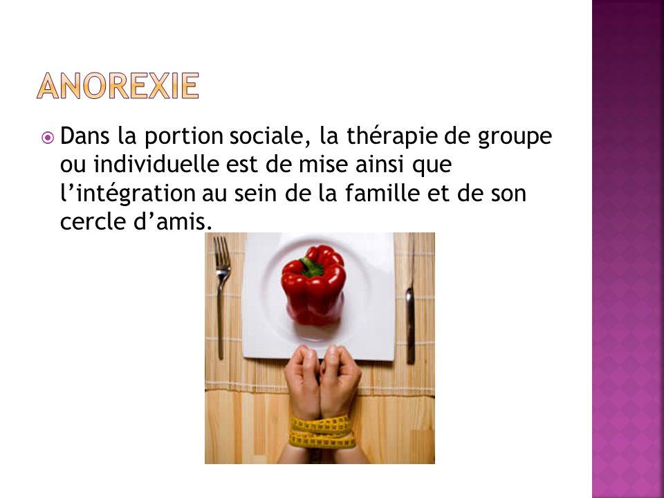 Dans la portion sociale, la thérapie de groupe ou individuelle est de mise ainsi que lintégration au sein de la famille et de son cercle damis.