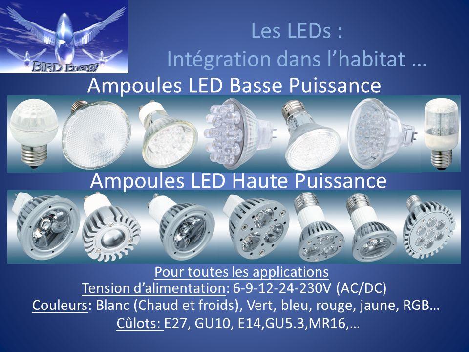 Les LEDs : Intégration dans lhabitat … Ampoules LED Basse Puissance Ampoules LED Haute Puissance Tension dalimentation: 6-9-12-24-230V (AC/DC) Couleur