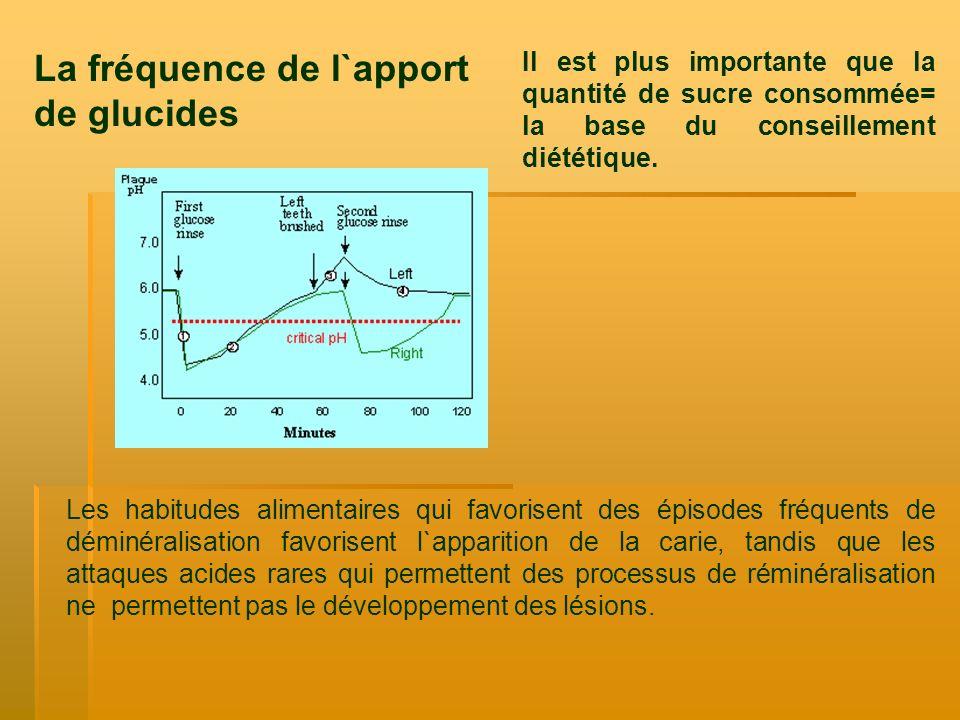 La fréquence de l`apport de glucides Il est plus importante que la quantité de sucre consommée= la base du conseillement diététique. Les habitudes ali