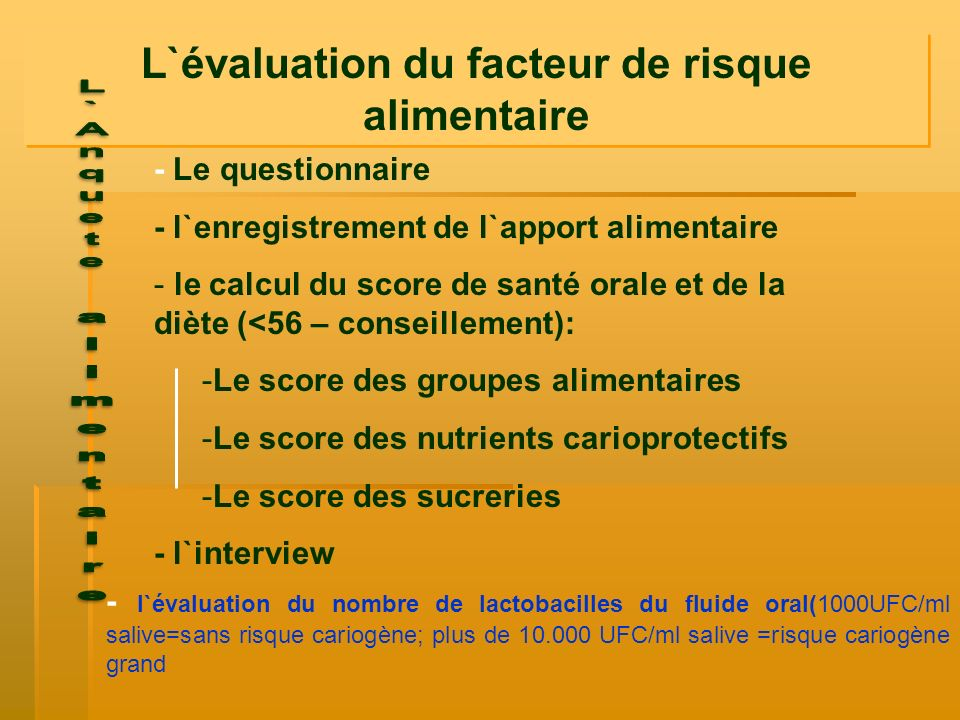 - Le questionnaire - l`enregistrement de l`apport alimentaire - le calcul du score de santé orale et de la diète (<56 – conseillement): -Le score des
