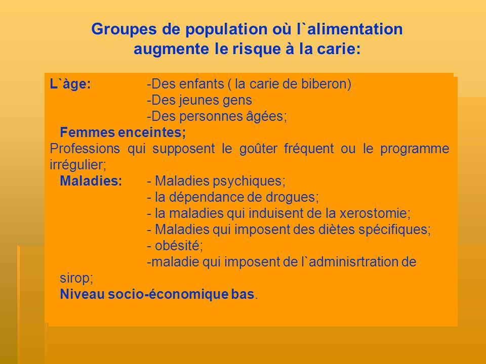 Groupes de population où l`alimentation augmente le risque à la carie: L`àge:-Des enfants ( la carie de biberon) -Des jeunes gens -Des personnes âgées