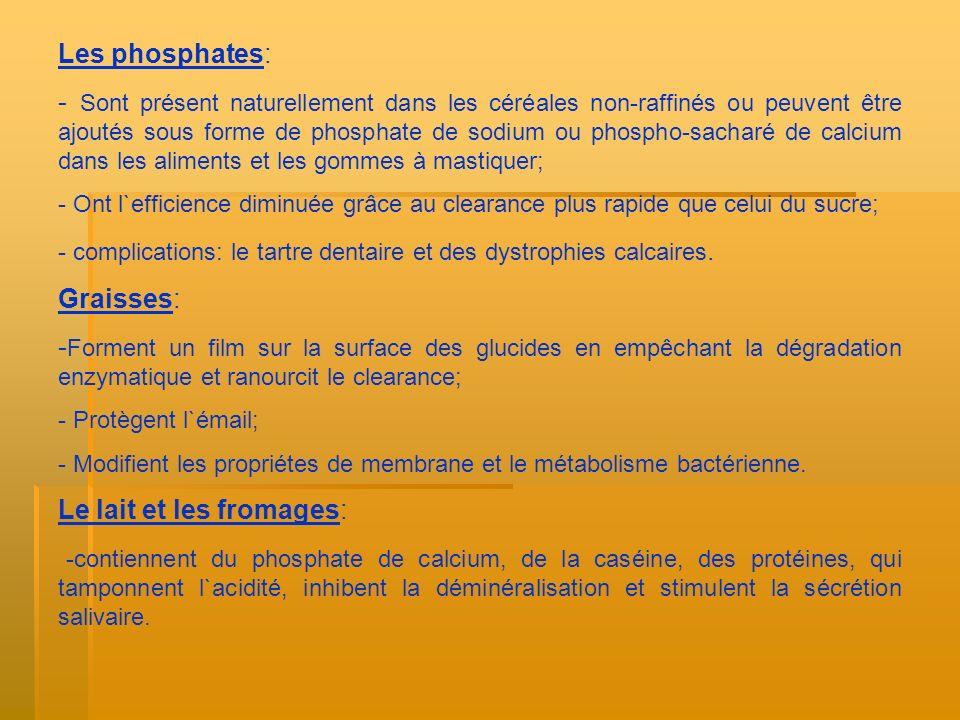 Les phosphates: - Sont présent naturellement dans les céréales non-raffinés ou peuvent être ajoutés sous forme de phosphate de sodium ou phospho-sacha