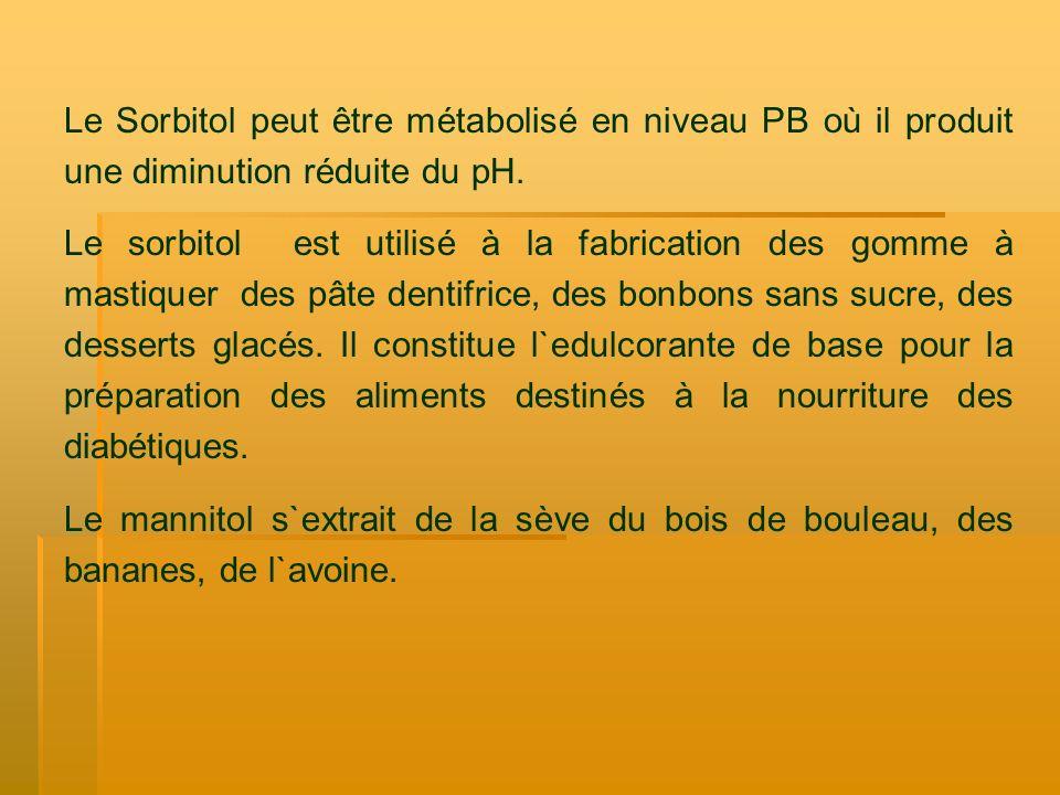 Le Sorbitol peut être métabolisé en niveau PB où il produit une diminution réduite du pH. Le sorbitol est utilisé à la fabrication des gomme à mastiqu