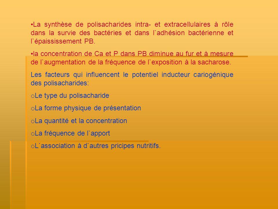 Le type du polisacharide: - La capacité de diffusion de PZ au niveau PB; -la capacité d`être dégradé dans l`acide (lactique, piruvique, acétique, étylique, formique, propionique); -Le degré d`utilisation par des bactéries comme nutrient et pour la synthèse de PZ extracellulaire (SM, A.