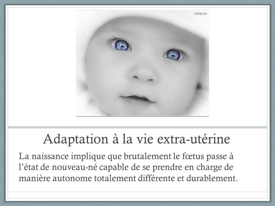 Adaptation à la vie extra-utérine La naissance implique que brutalement le fœtus passe à létat de nouveau-né capable de se prendre en charge de manièr
