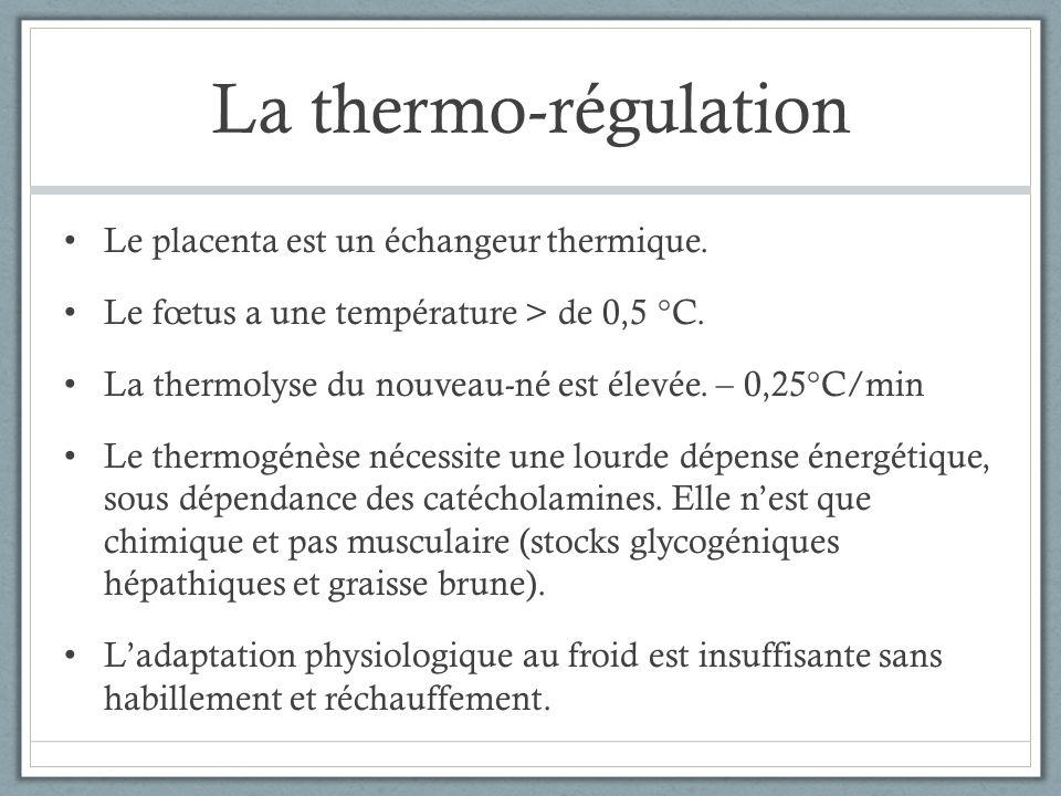 La thermo-régulation Le placenta est un échangeur thermique. Le fœtus a une température > de 0,5 °C. La thermolyse du nouveau-né est élevée. – 0,25°C/