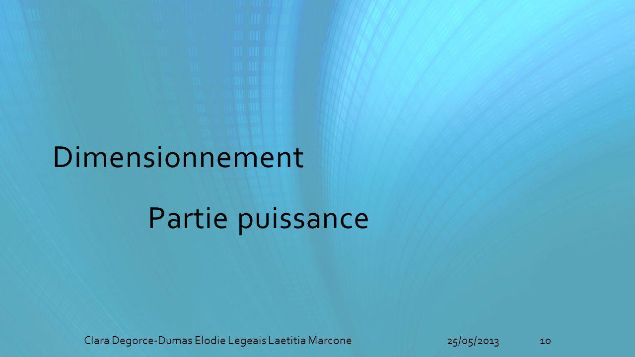 Dimensionnement Partie puissance 10Clara Degorce-Dumas Elodie Legeais Laetitia Marcone25/05/2013