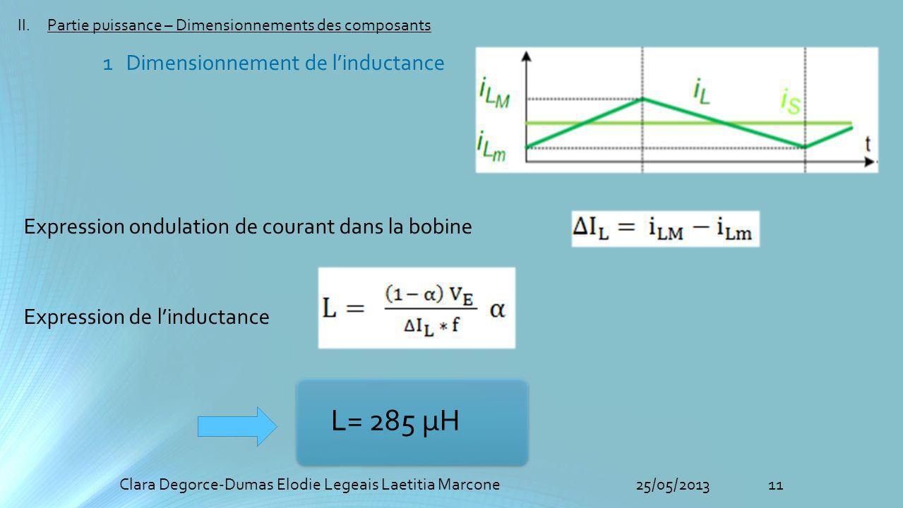 11Clara Degorce-Dumas Elodie Legeais Laetitia Marcone25/05/2013 II.Partie puissance – Dimensionnements des composants 1 Dimensionnement de linductance Expression ondulation de courant dans la bobine Expression de linductance L= 285 µH