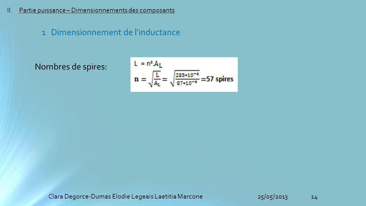 14Clara Degorce-Dumas Elodie Legeais Laetitia Marcone25/05/2013 II.Partie puissance – Dimensionnements des composants Nombres de spires: 1 Dimensionnement de linductance