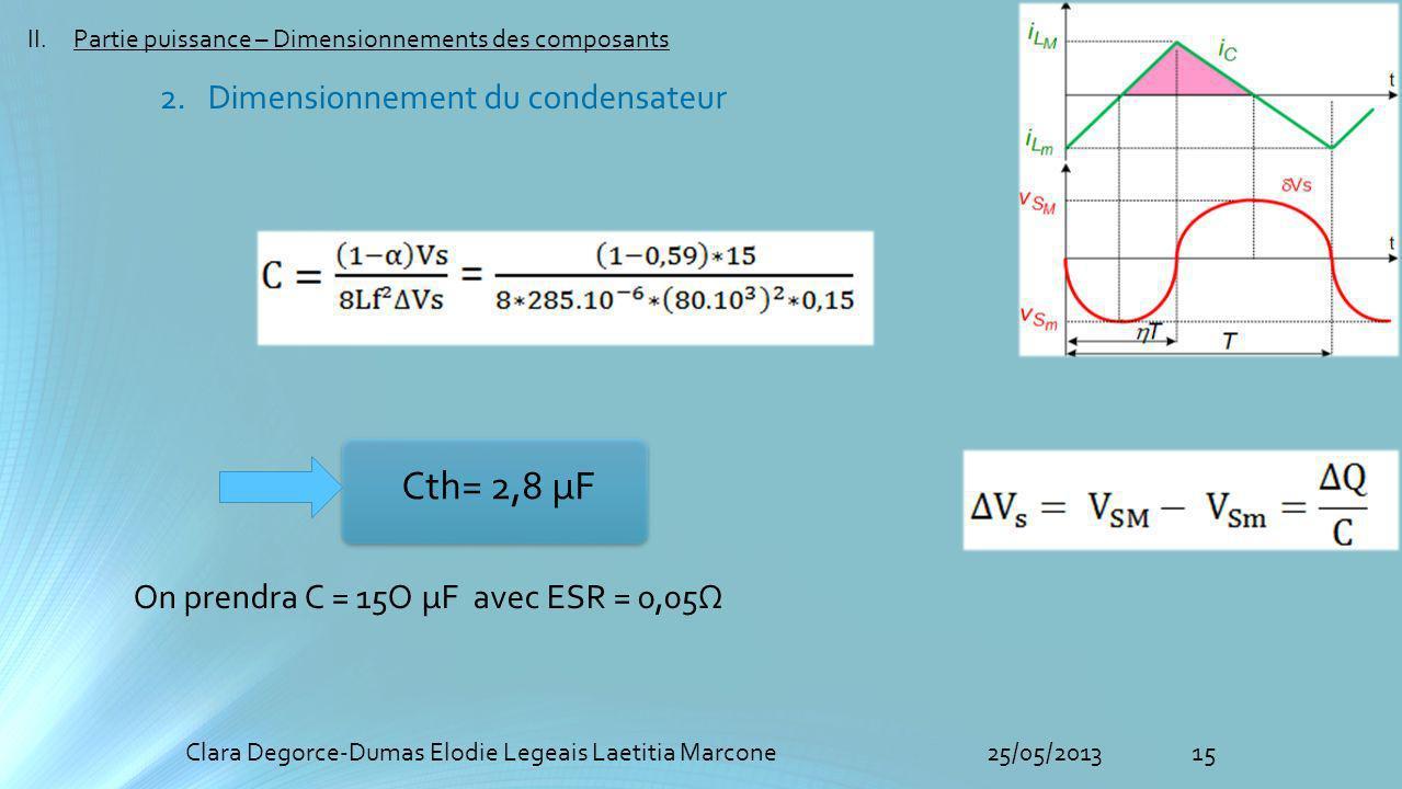15Clara Degorce-Dumas Elodie Legeais Laetitia Marcone25/05/2013 II.Partie puissance – Dimensionnements des composants 2. Dimensionnement du condensate
