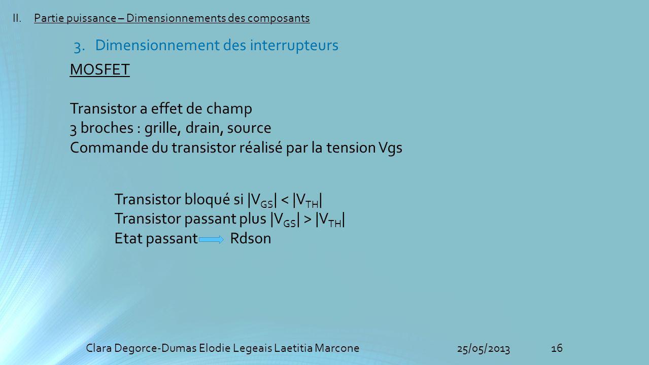 16Clara Degorce-Dumas Elodie Legeais Laetitia Marcone25/05/2013 II.Partie puissance – Dimensionnements des composants 3.