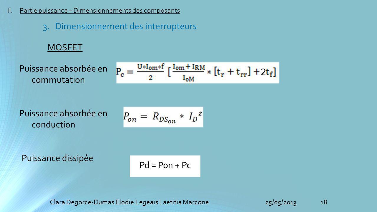 18Clara Degorce-Dumas Elodie Legeais Laetitia Marcone25/05/2013 II.Partie puissance – Dimensionnements des composants MOSFET Puissance absorbée en com