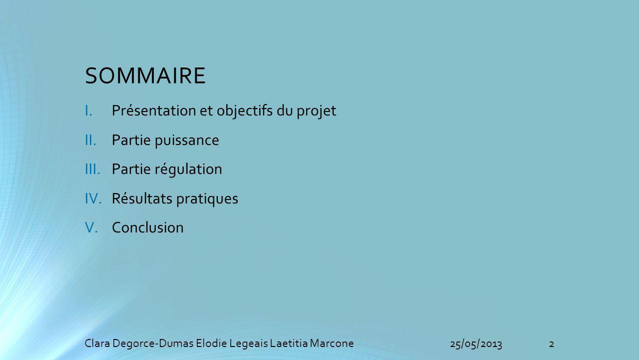 SOMMAIRE I.Présentation et objectifs du projet II.Partie puissance III.Partie régulation IV.Résultats pratiques V.Conclusion 2Clara Degorce-Dumas Elodie Legeais Laetitia Marcone25/05/2013