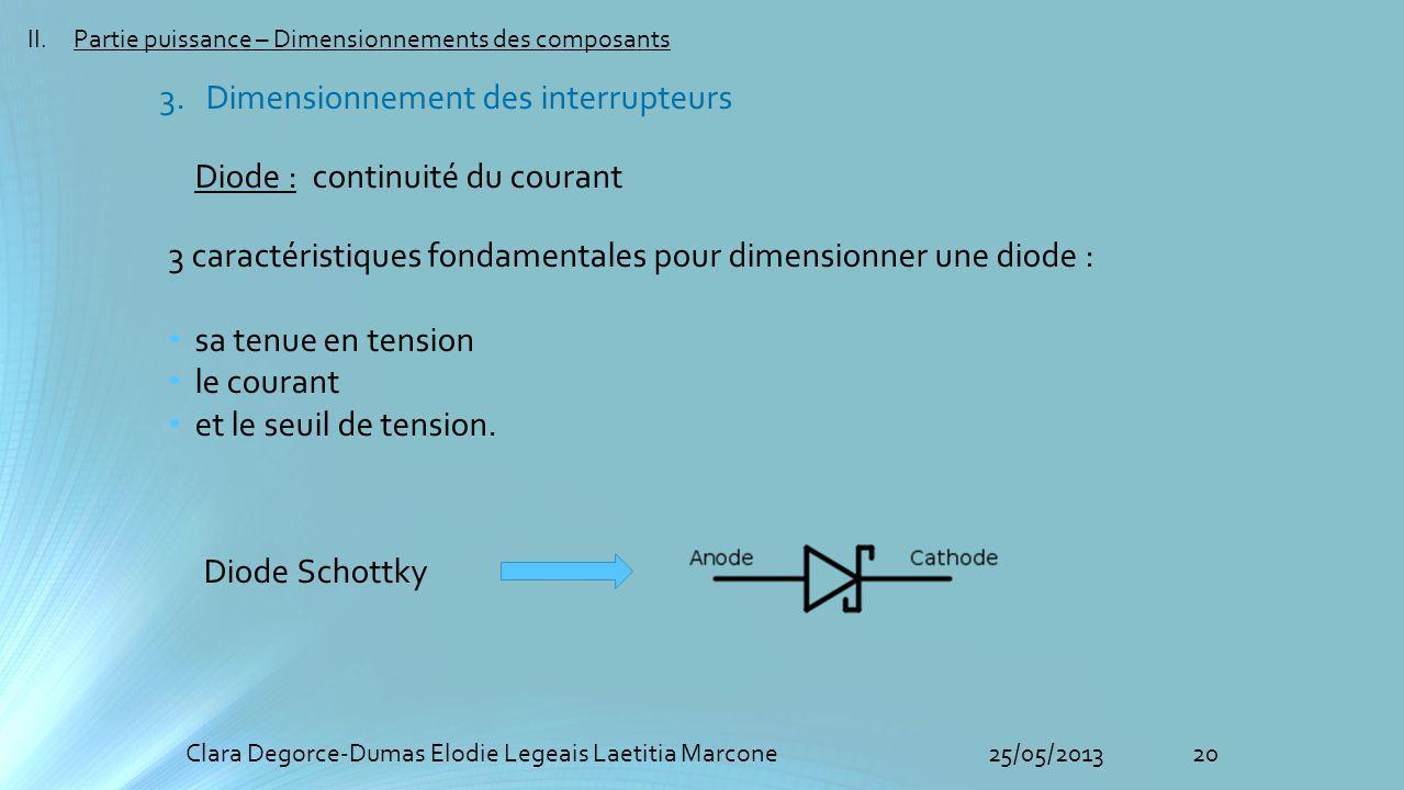 20Clara Degorce-Dumas Elodie Legeais Laetitia Marcone25/05/2013 II.Partie puissance – Dimensionnements des composants Diode : continuité du courant 3 caractéristiques fondamentales pour dimensionner une diode : sa tenue en tension le courant et le seuil de tension.