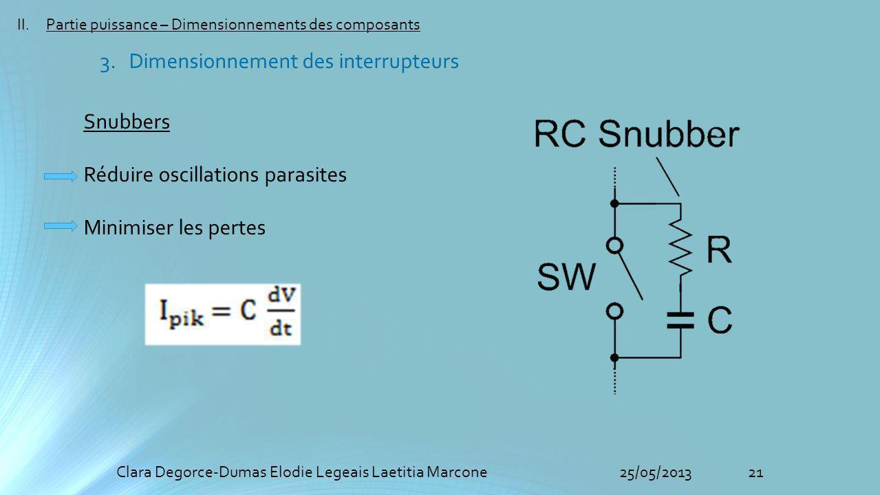21Clara Degorce-Dumas Elodie Legeais Laetitia Marcone25/05/2013 II.Partie puissance – Dimensionnements des composants Snubbers Réduire oscillations parasites Minimiser les pertes 3.