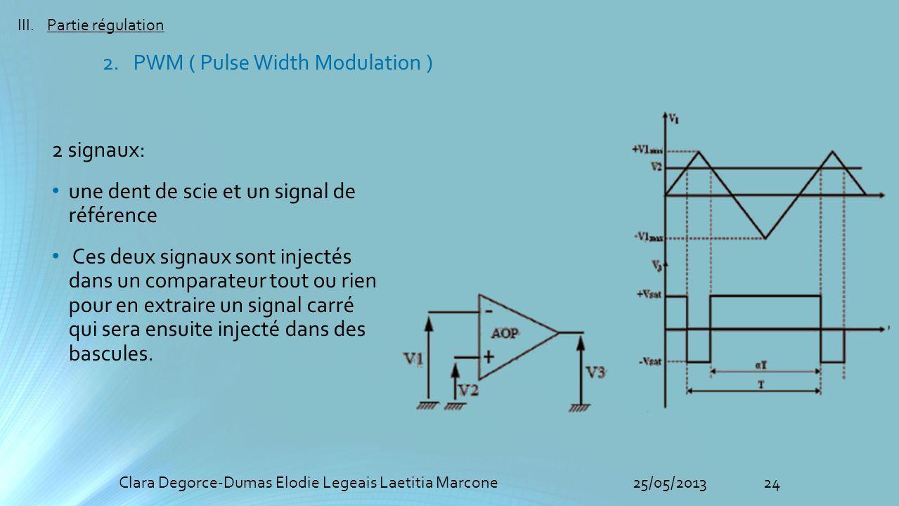 24Clara Degorce-Dumas Elodie Legeais Laetitia Marcone25/05/2013 III.Partie régulation 2 signaux: une dent de scie et un signal de référence Ces deux signaux sont injectés dans un comparateur tout ou rien pour en extraire un signal carré qui sera ensuite injecté dans des bascules.