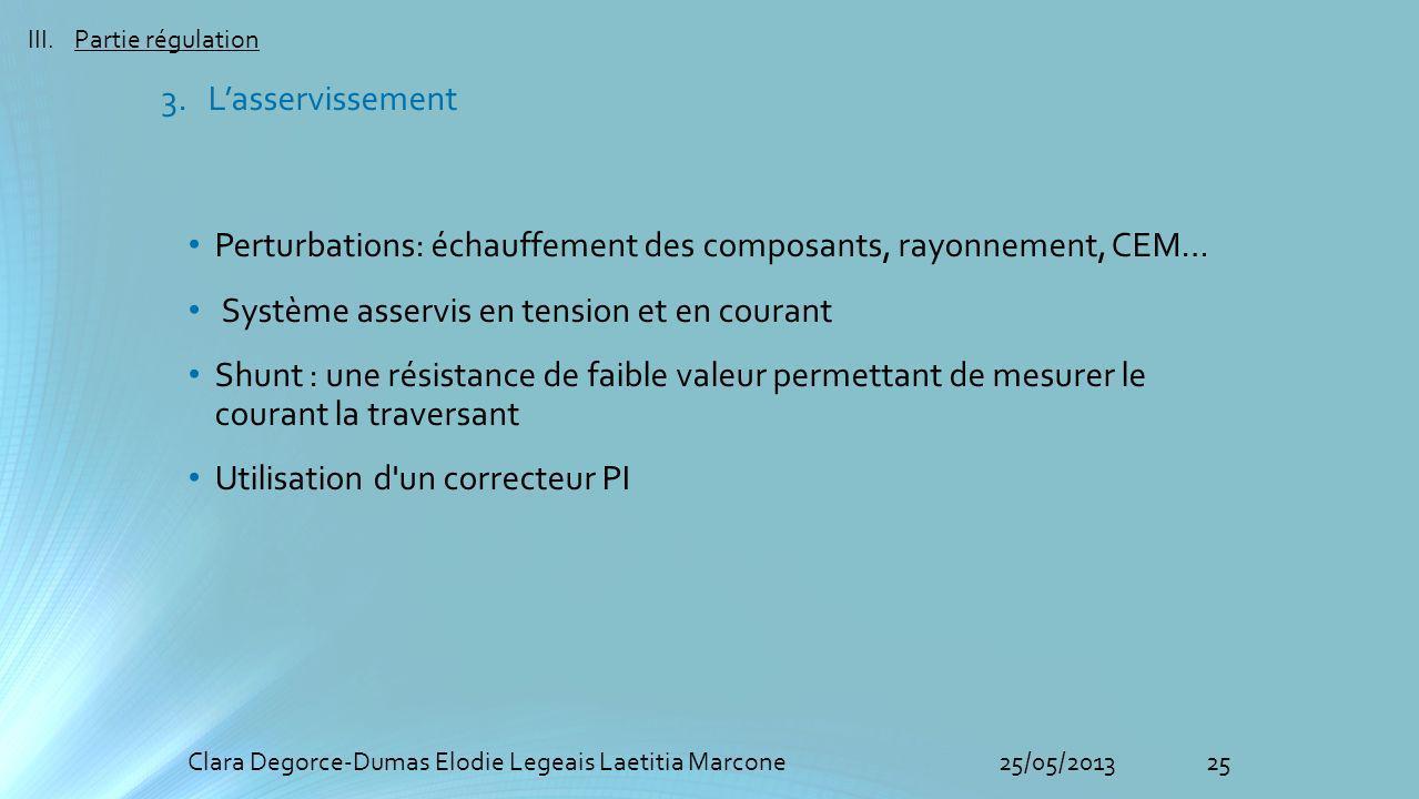 25Clara Degorce-Dumas Elodie Legeais Laetitia Marcone25/05/2013 III.Partie régulation 3. Lasservissement Perturbations: échauffement des composants, r