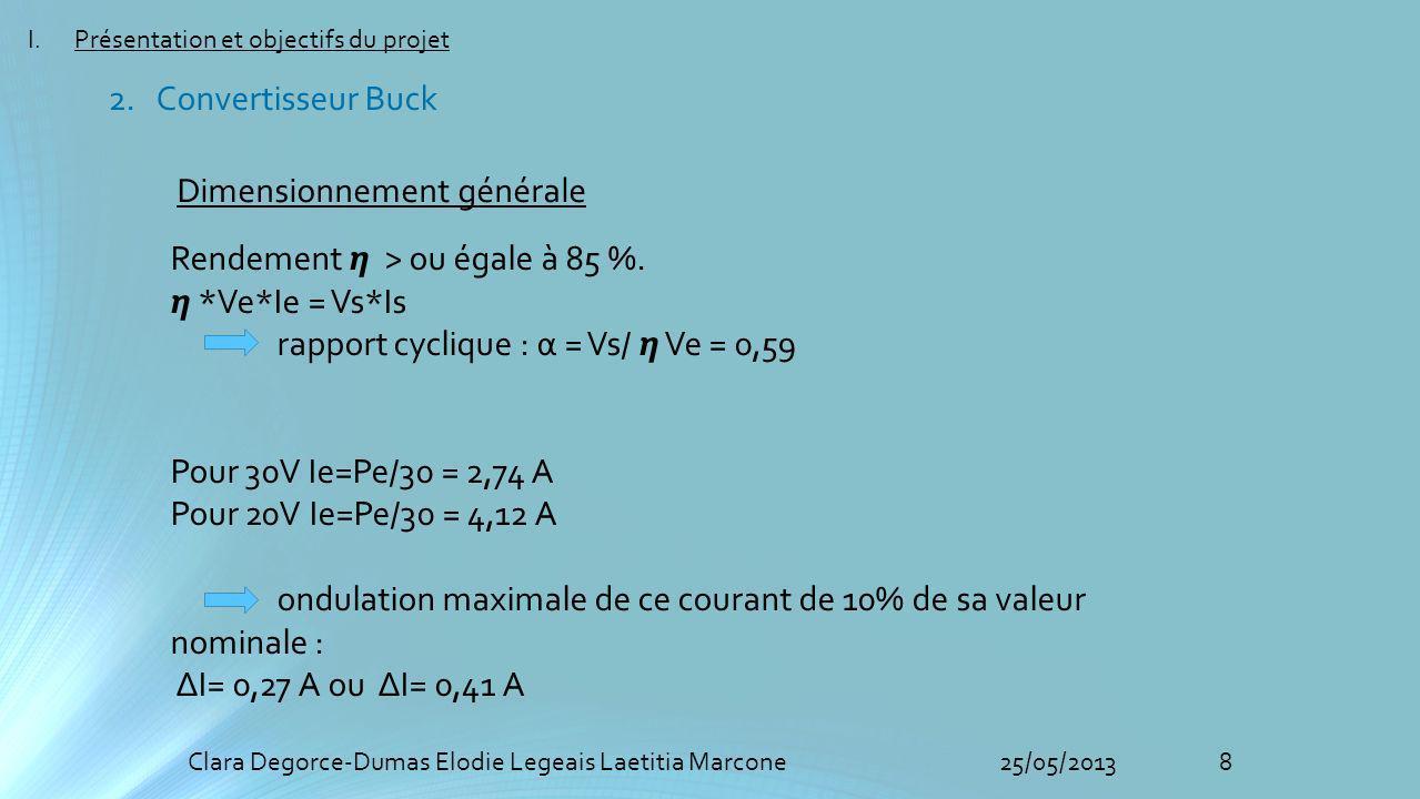 8Clara Degorce-Dumas Elodie Legeais Laetitia Marcone25/05/2013 Dimensionnement générale Rendement > ou égale à 85 %. *Ve*Ie = Vs*Is rapport cyclique :