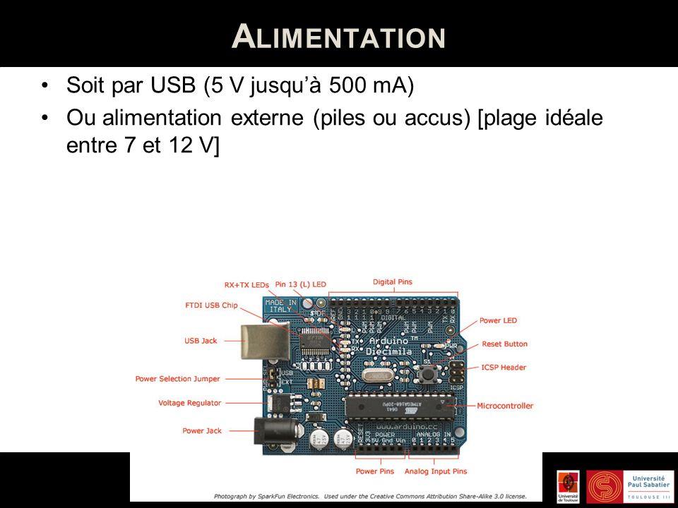 B ROCHES Numériques (14 broches – de 0 à 13) 5V / 40 mA et résistance interne de 20-50 kOhms déconnectée par défaut) Communication série : Broches 0 (RX) et 1 (TX) Interruptions externes : broches 2 et 3 Impulsions PWM : broches 3, 5, 6, 9, 10 et 11 Interface Série Périphérique : Broches 10, 11, 12 et 13 I2C : Broches 4 et 5 LED : broche 13