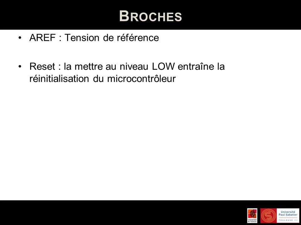 B ROCHES Analogiques (6 broches – de 0 à 5) sur 10 bits entre 0V (0) et 5V (1023).