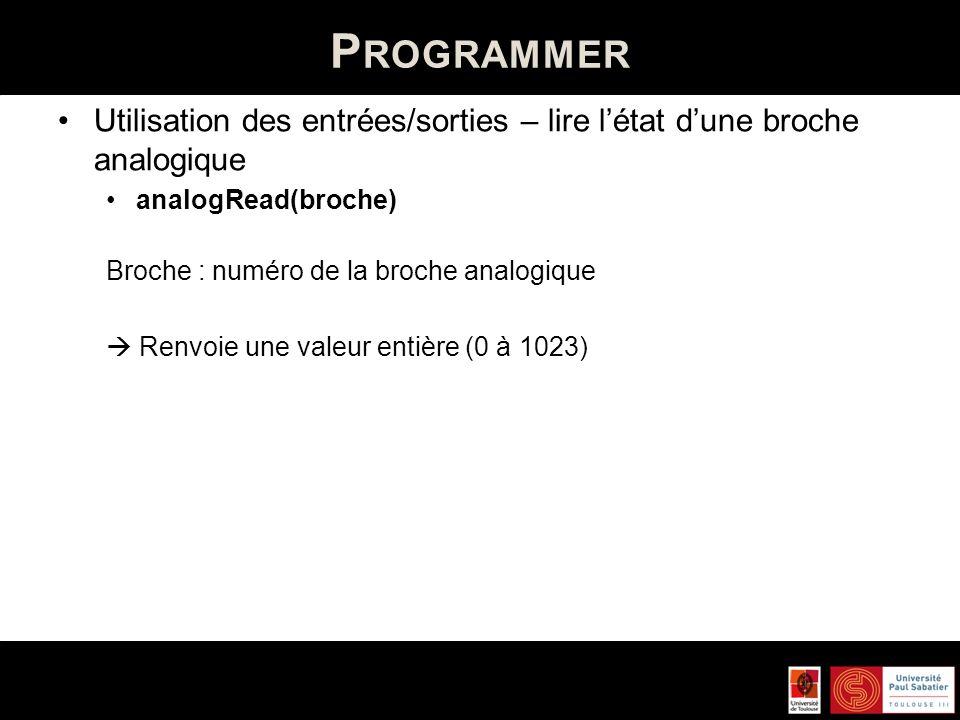 P ROGRAMMER Utilisation des entrées/sorties – écrire létat dune broche analogique / générer une onde PLW analogWrite(broche, valeur) Broche : numéro de la broche analogique Valeur : largeur du cycle de londe carré entre 0 et 255) Ne fonctionne que sur les broches 3, 5, 6, 9, 10 et 11