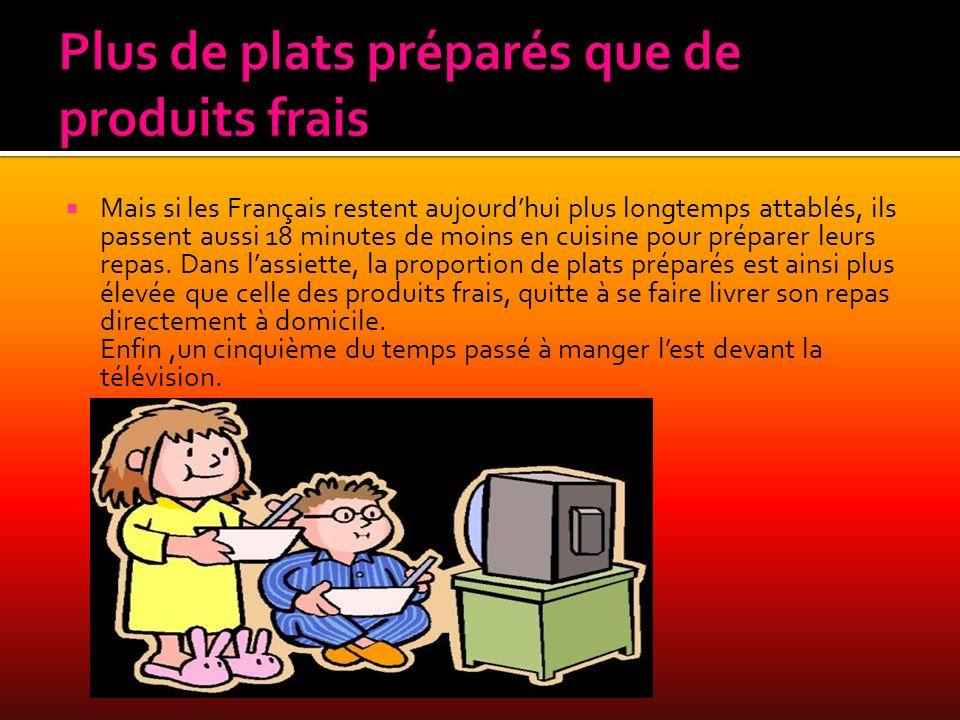 Mais si les Français restent aujourdhui plus longtemps attablés, ils passent aussi 18 minutes de moins en cuisine pour préparer leurs repas. Dans lass