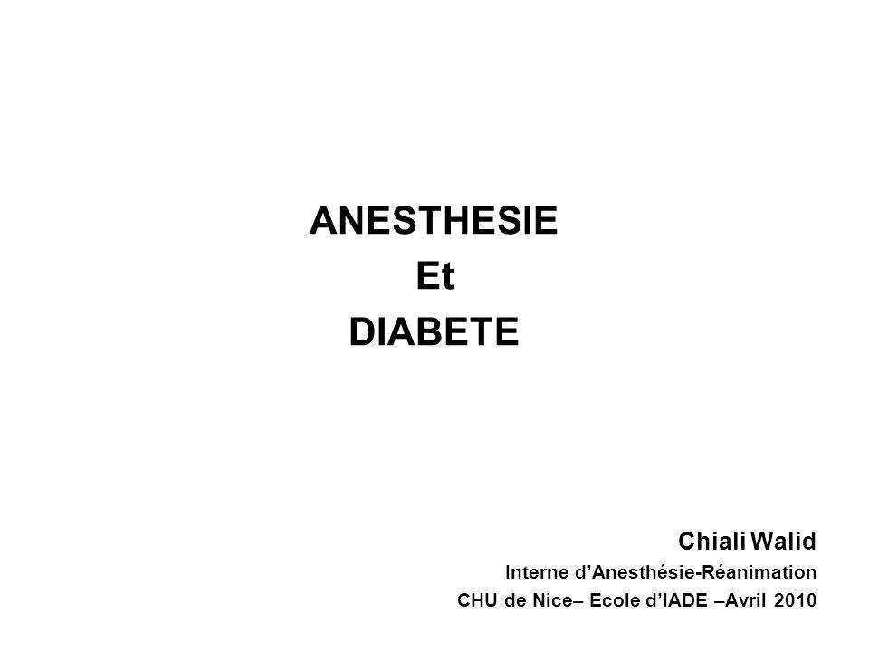Anesthésie et Diabète Phase per-opératoire Monitorisation systématique Scope TA non invasive SpO2 Capnographie (si AG) Monitorages spécifiques