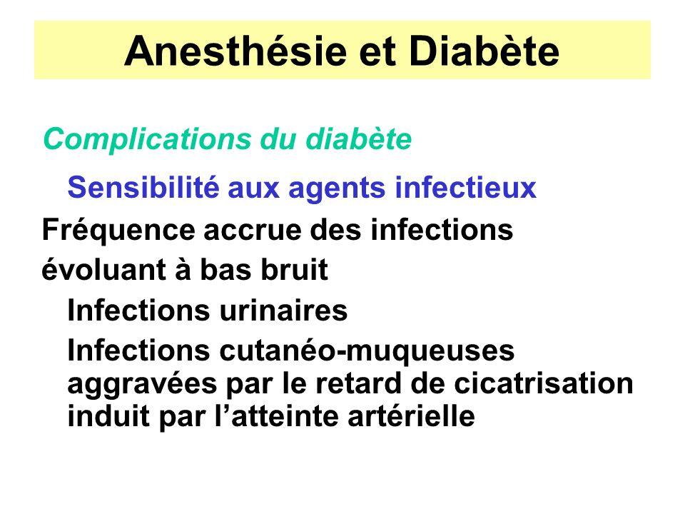 Anesthésie et Diabète Complications du diabète Sensibilité aux agents infectieux Fréquence accrue des infections évoluant à bas bruit Infections urina