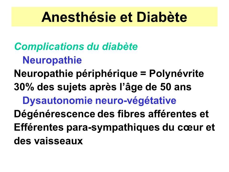 Anesthésie et Diabète Complications du diabète Neuropathie Neuropathie périphérique = Polynévrite 30% des sujets après lâge de 50 ans Dysautonomie neu
