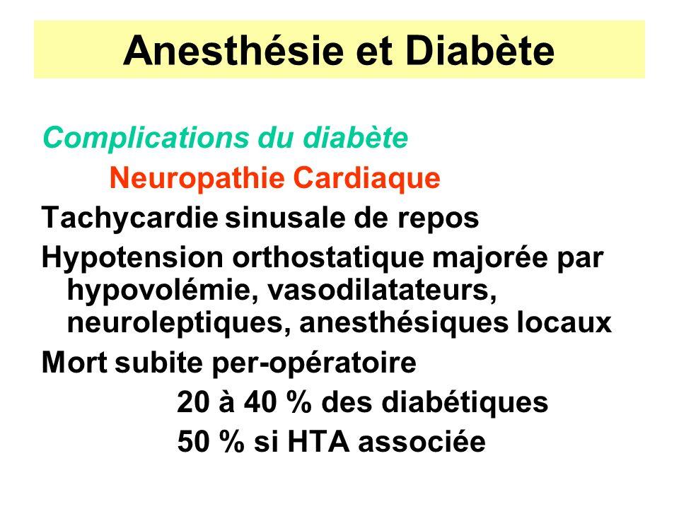 Anesthésie et Diabète Complications du diabète Neuropathie Cardiaque Tachycardie sinusale de repos Hypotension orthostatique majorée par hypovolémie,