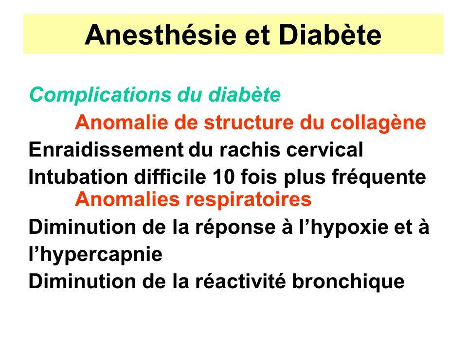 Anesthésie et Diabète Complications du diabète Anomalie de structure du collagène Enraidissement du rachis cervical Intubation difficile 10 fois plus