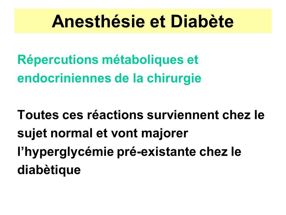 Anesthésie et Diabète Répercutions métaboliques et endocriniennes de la chirurgie Toutes ces réactions surviennent chez le sujet normal et vont majore