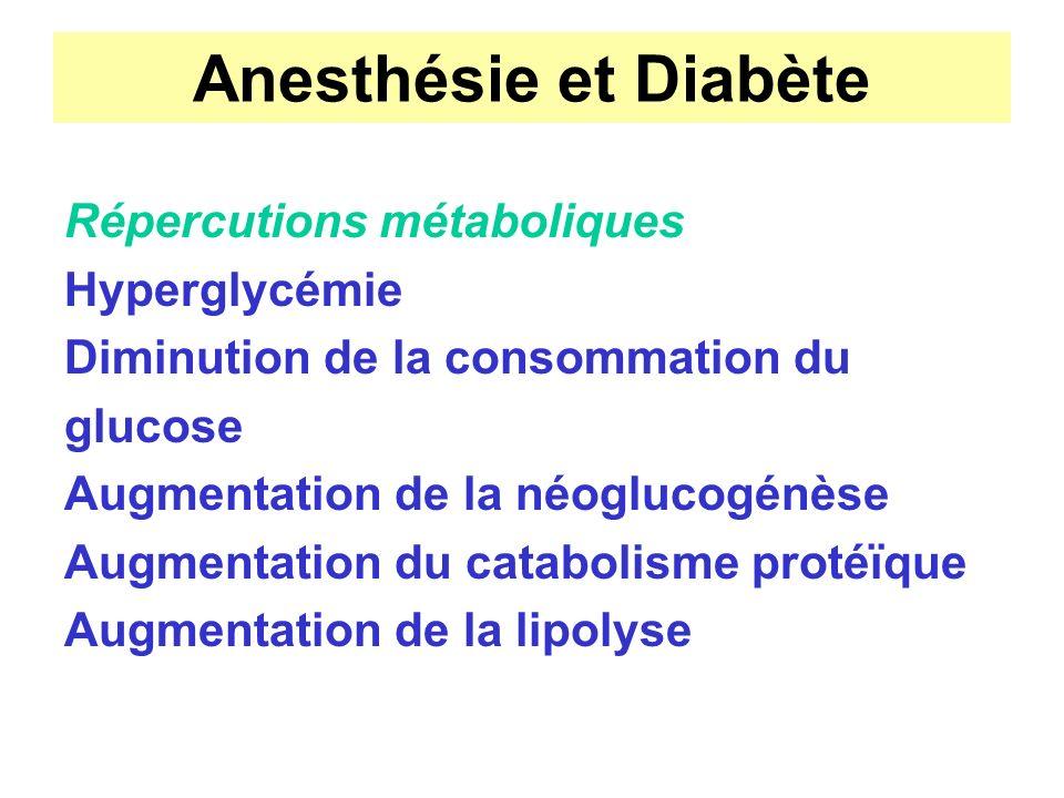Anesthésie et Diabète Répercutions métaboliques Hyperglycémie Diminution de la consommation du glucose Augmentation de la néoglucogénèse Augmentation