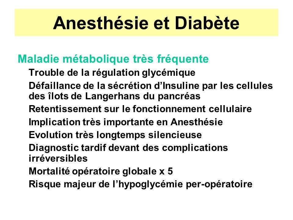 Anesthésie et Diabète Physiologie de léquilibre glycémique Glycémie = constante très stable Valeur normale :3,8 à 4 mmol/l Augmente avec lâge Variation post-prandiale faible (< 3) Retour à la normale en 1h30 à 2h