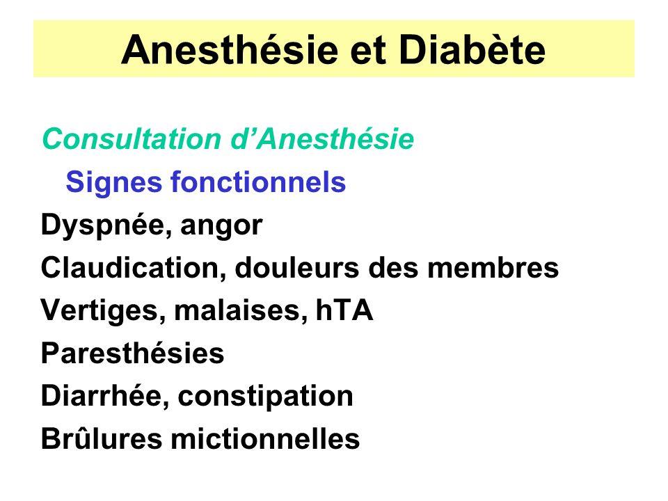 Anesthésie et Diabète Consultation dAnesthésie Signes fonctionnels Dyspnée, angor Claudication, douleurs des membres Vertiges, malaises, hTA Paresthés