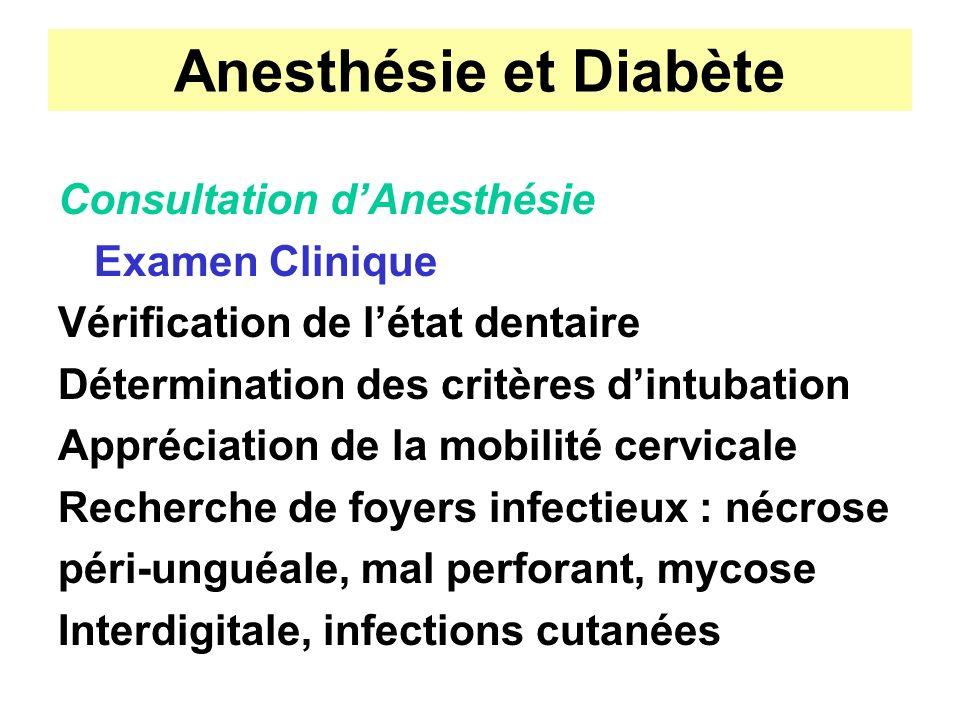 Anesthésie et Diabète Consultation dAnesthésie Examen Clinique Vérification de létat dentaire Détermination des critères dintubation Appréciation de l
