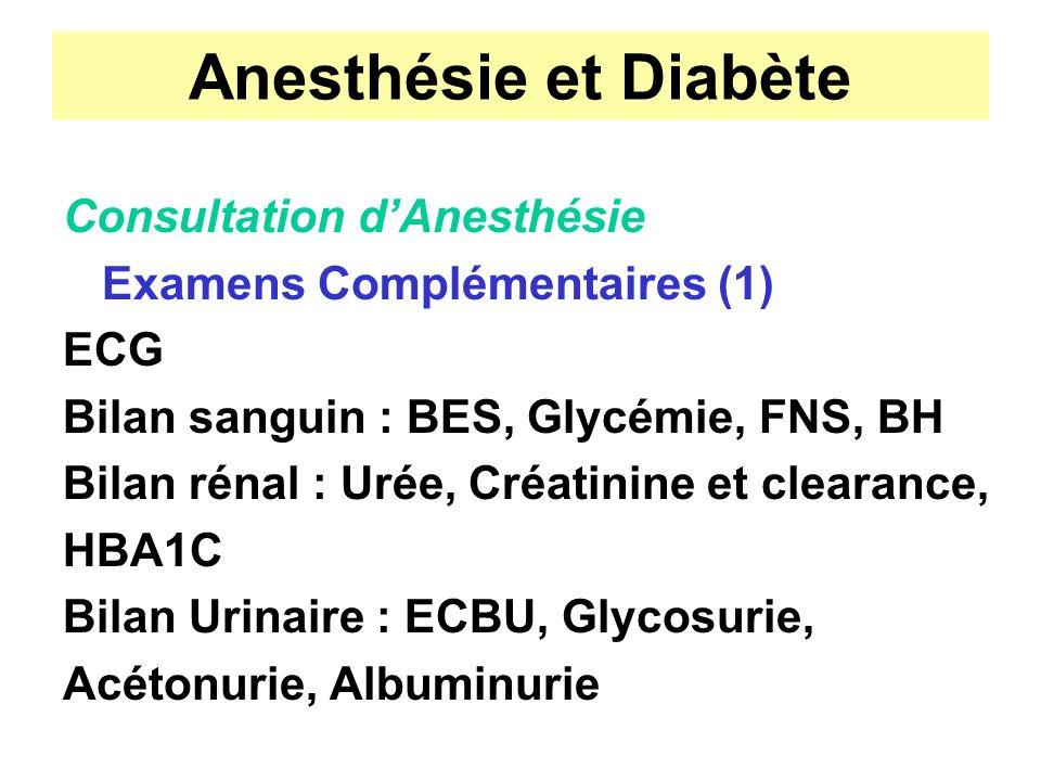 Anesthésie et Diabète Consultation dAnesthésie Examens Complémentaires (1) ECG Bilan sanguin : BES, Glycémie, FNS, BH Bilan rénal : Urée, Créatinine e