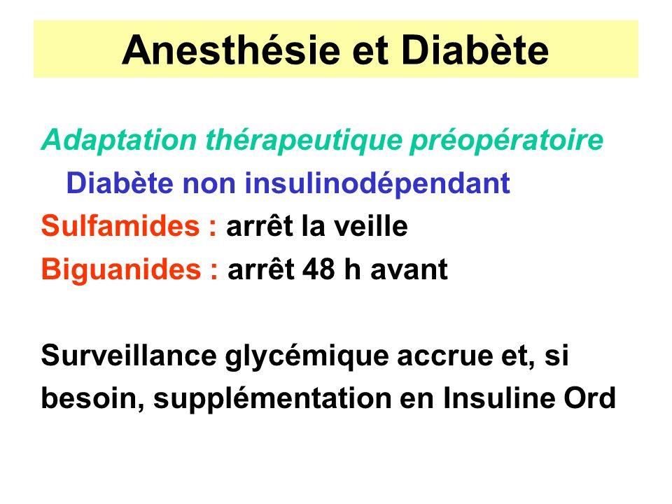Anesthésie et Diabète Adaptation thérapeutique préopératoire Diabète non insulinodépendant Sulfamides : arrêt la veille Biguanides : arrêt 48 h avant