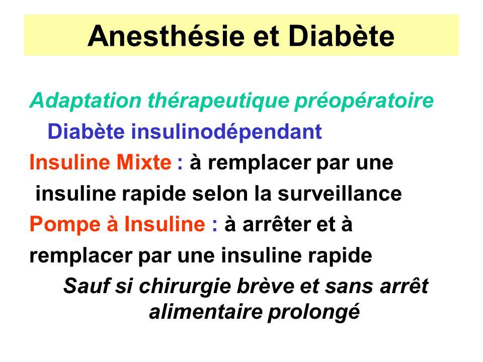 Anesthésie et Diabète Adaptation thérapeutique préopératoire Diabète insulinodépendant Insuline Mixte : à remplacer par une insuline rapide selon la s