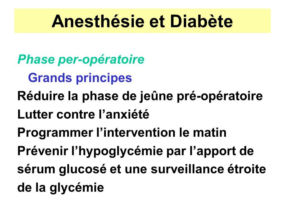 Anesthésie et Diabète Phase per-opératoire Grands principes Réduire la phase de jeûne pré-opératoire Lutter contre lanxiété Programmer lintervention l