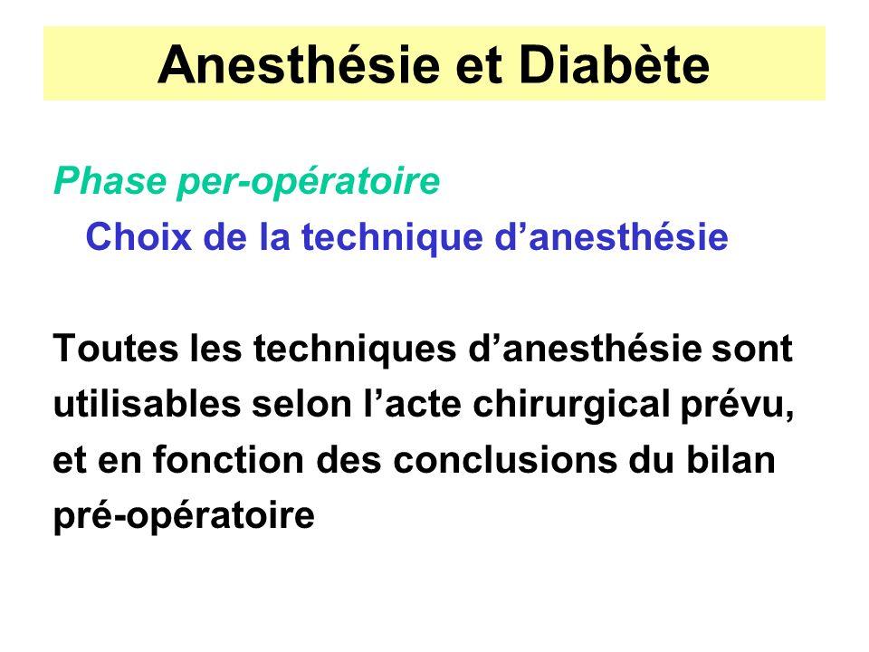 Anesthésie et Diabète Phase per-opératoire Choix de la technique danesthésie Toutes les techniques danesthésie sont utilisables selon lacte chirurgica